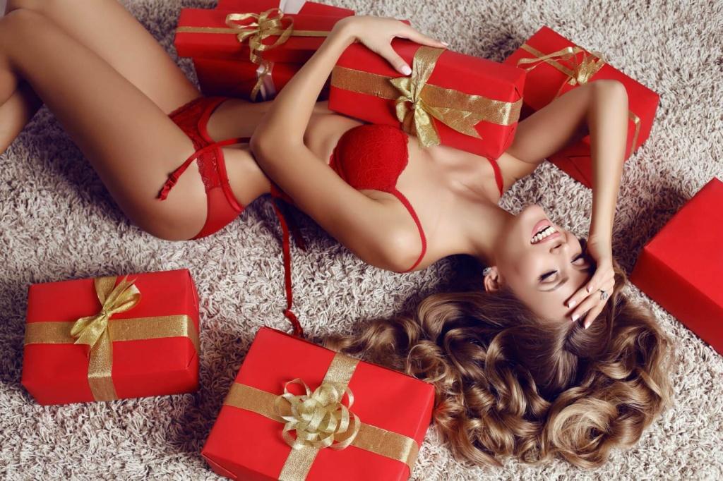 Sexy bum new years gift christmas stock photo